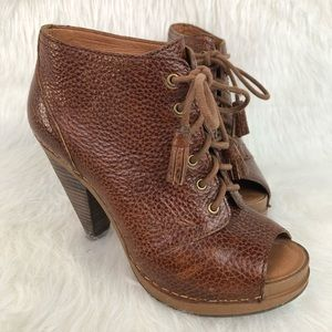 Lucky Brand Francisca Peep Toe Bootie Lace Up